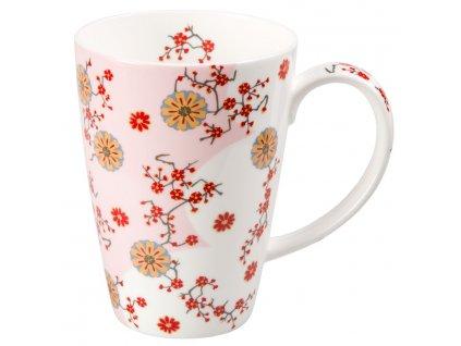 Ava - Fine Bone China porcelánový hrnek 0,5 l, květiny, růžový