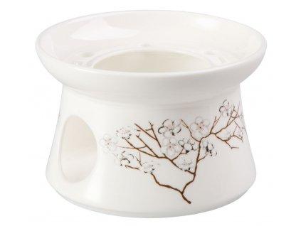 Bílá třešeň - Fine Bone China porcelánový ohřívák na čajovou konvici