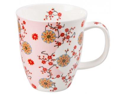 Ava - Fine Bone China porcelánový hrnek 0,35 l, květiny, růžový
