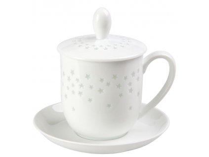 Starlight - Fine Bone China, porcelánový hrnek s podšálkem, pokličkou a sítkem 0,35 l, hvězdy