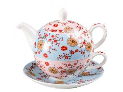 Ava - Tea for one, Fine Bone China, čajová porcelánová souprava 0,25l /0,5 l, květiny