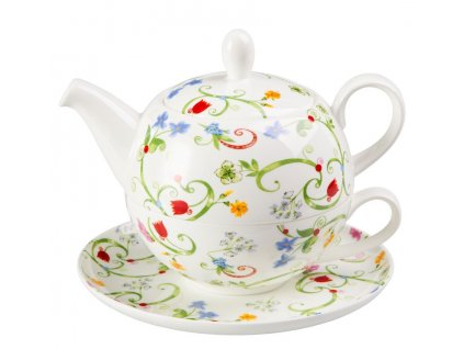 Fleurette - Tea for one, Fine Bone China, čajový porcelánový set 0,25l /0,5 l, květiny