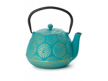 Jinan - litinová čajová konvice s nerezovým sítkem 1 l, tyrkysová, zlatá