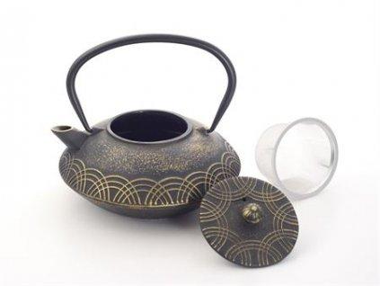 Anhao - litinová čajová konvice se sítkem 0,85 l, černá, zlatá
