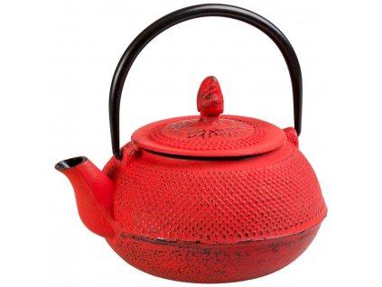 Keyomi - litinová čajová konvice se sítkem 0,8 l, červená