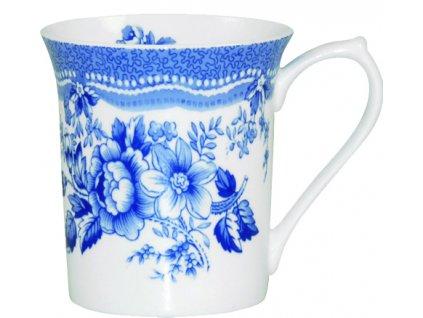 Blue Story - Fine Bone China, porcelánový hrnek 0,22 l, modrý, bílý, květiny, 2