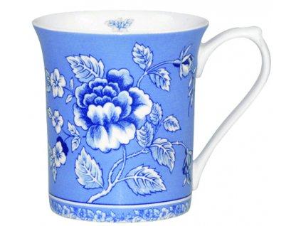 Blue Story - Fine Bone China, porcelánový hrnek 0,22 l, modrý, bílý, květiny, 3