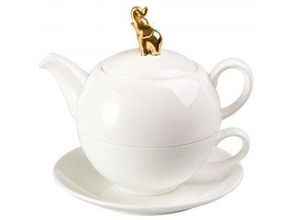 Golden Elephant - Tea for one, Fine Bone China, čajová porcelánová souprava 0,25l /0,5 l, bílá, zlatá, slon