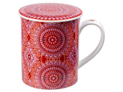Sonji - Fine Bone China porcelánový hrnek s pokličkou a sítkem 0,35 l, mandaly