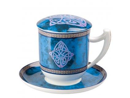 Celtic - Fine Bone China, porcelánový hrnek s podšálkem, pokličkou a sítkem 0,35 l, modrý, keltský uzel