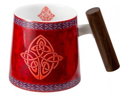 Celtic - Fine Bone China porcelánový hrnek s dřevěným uchem 0,32 l, červený, keltský uzel