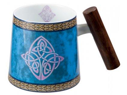 Celtic - Fine Bone China porcelánový hrnek s dřevěným uchem 0,32 l, modrý , keltský uzel