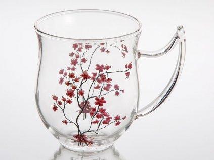 Cherry Blossom - skleněný hrnek 0,35 l, třešeň