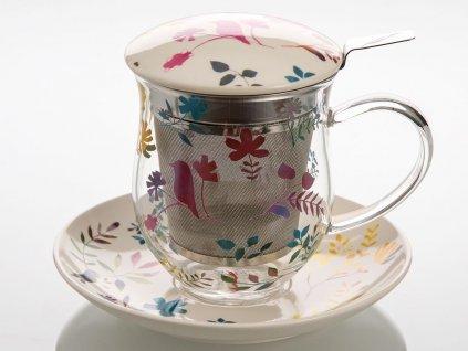 Belinda - skleněný hrnek s porcelánovým podšálkem, pokličkou a sítkem 0,35 l, květiny, ptáček
