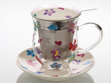 Giselle - skleněný hrnek s porcelánovým podšálkem, pokličkou a sítkem 0,35 l, květiny