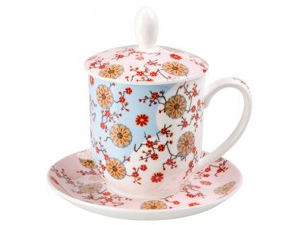 Ava - Fine Bone China, porcelánový hrnek s podšálkem, pokličkou a sítkem 0,35 l, květiny
