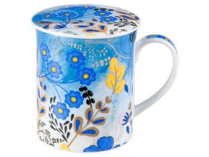 Nicole - Fine Bone China, porcelánový hrnek s pokličkou a sítkem 0,35 l, modrý, květiny