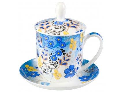 Nicole - Fine Bone China, porcelánový hrnek s podšálkem, pokličkou a sítkem 0,35 l, modrý, květiny