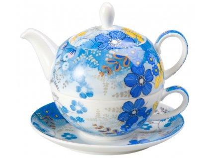 Nicole - Tea for one, Fine Bone China, čajová porcelánová souprava 0,25l /0,5 l, modrá, květiny