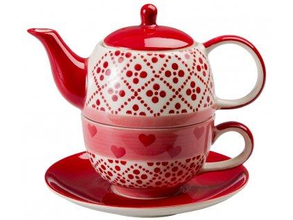Joseppa - keramická čajová souprava 0,2 l/0,4 l, tea for one, motiv srdce