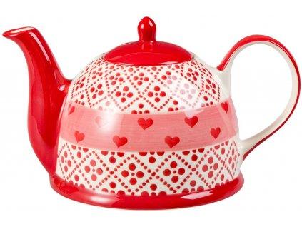 Joseppa - keramická čajová konvička 1,5 l, motiv srdíčka