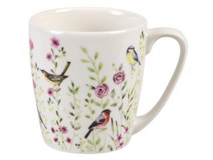 Bird Watch pink - porcelánový hrnek 0,3 l, Aqurelle, ptáček, louka
