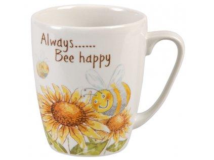 Always Bee happy  - Bone China, porcelánový hrnek 0,4 l, slunečnice, včela