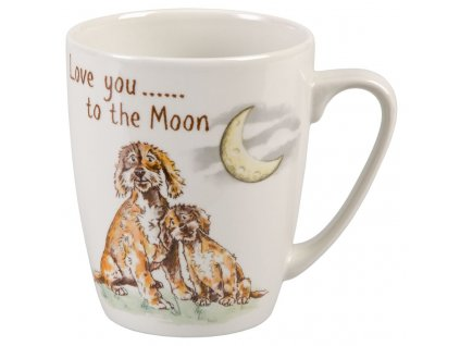 Love you to the Moon - Bone China, porcelánový hrnek 0,4 l, pes, měsíc