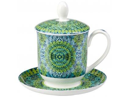 Nanji - Fine Bone China porcelánový hrnek s podšálkem, sítkem a pokličkou  0,35 l, zelený s mandaly
