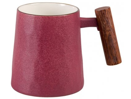 Rosso - porcelánový hrnek s dřevěným uchem 0,32 l, fialový