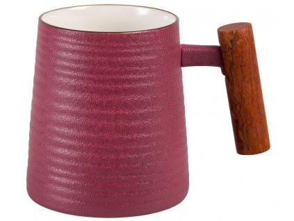 Rosso - porcelánový hrnek s dřevěným uchem 0,32 l, fialový s reliéfem