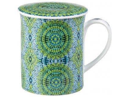 Nanji - Fine Bone China porcelánový hrnek s pokličkou a sítkem 0,35 l, zelený s mandaly