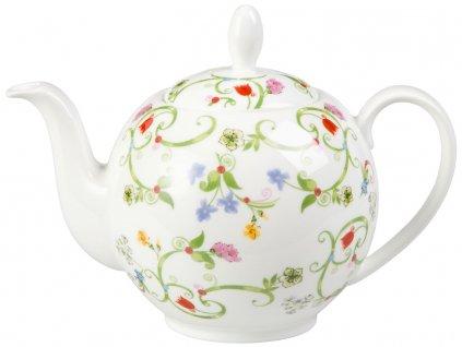 Fleurette - Fine Bone China porcelánová čajová konvice 1 l, květiny