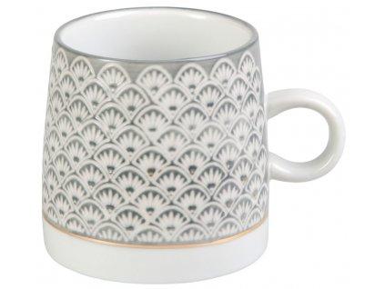 Adia - porcelánový hrnek 0,3 l, šedý s vějířky