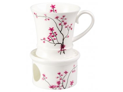Cherry Blossom - Fine Bone China porcelánový hrnek s ohřívákem 0,3 l, třešeň