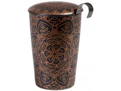 Mandala - dvoustěnný porcelánový hrnek bez ouška se sítkem a pokličkou 0,35 l, černý