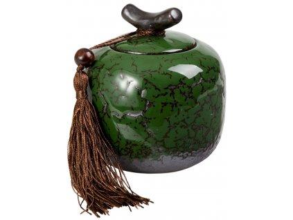 Nyoko - porcelánová dóza 200 ml, zelená se střapcem