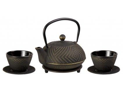 Ryota - litinová čajová konvice se sítkem, podložkou a dvěma šálky, černá, zlatá