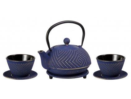 Ryota - litinová čajová konvice se sítkem, podložkou a dvěma šálky, modrá, zlatá