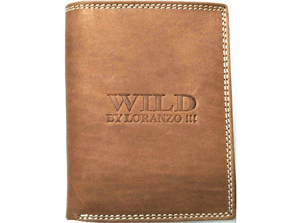 Pánská peněženka na výšku WILD světle hnědá kožená