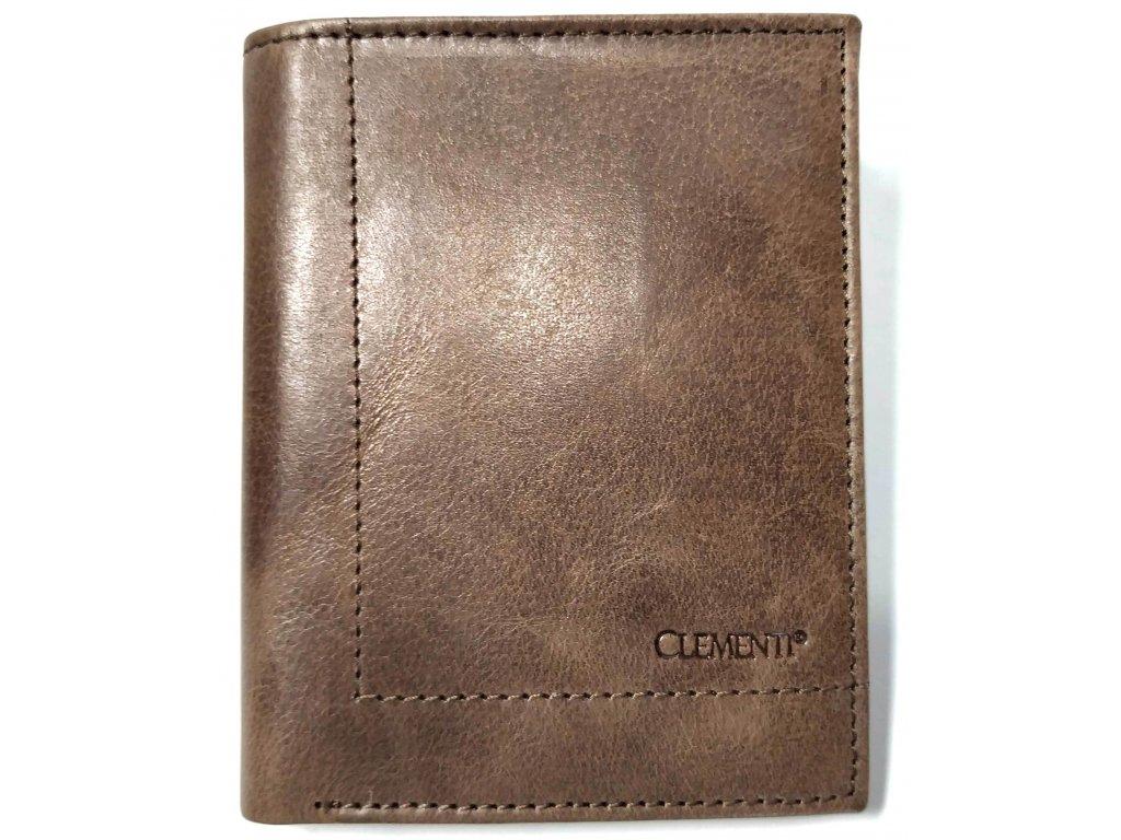 Pánská peněženka na výšku CLEMENTI hnědá kožená