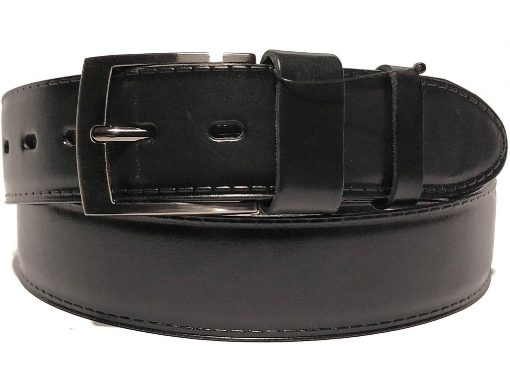 Clementi pánský pásek kožený opasek do jeansů riflí Nero černý