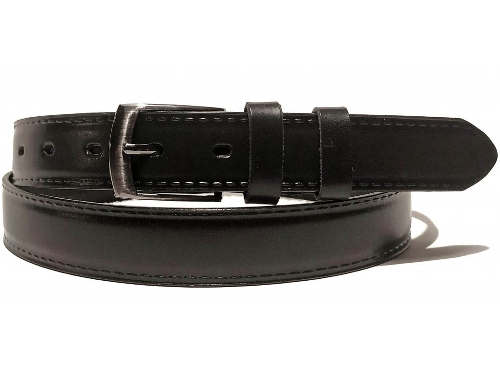 Clementi pánský pásek kožený opasek do obleku Lemio černý