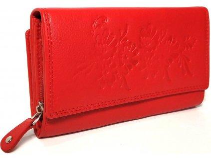 Dámská kožená peněženka s květy HL 600 červená