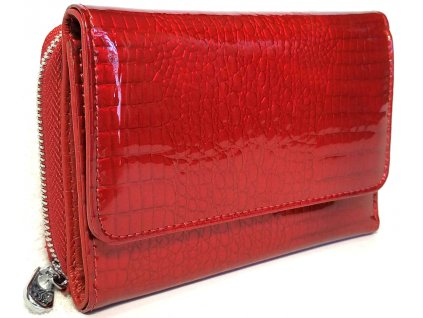 Menší kožená dámská peněženka Clementi CLL, krokodýli vzor, červená