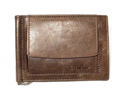 Hnědá tenká kožená dolarovka Clementi, dolarka peněženka