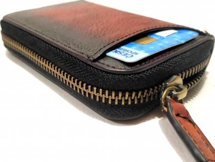 Luxusní pouzdo na karty Clementi CH2 hnědé se zipem