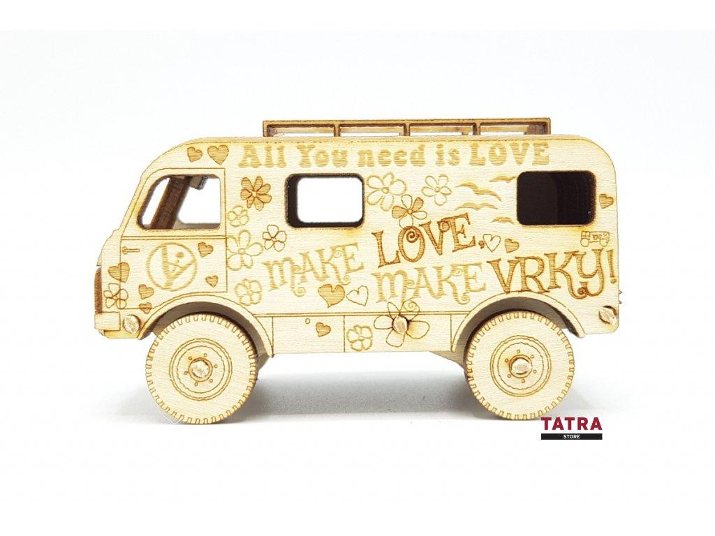 Dřevěný model TATRA 805 LOVE BUS