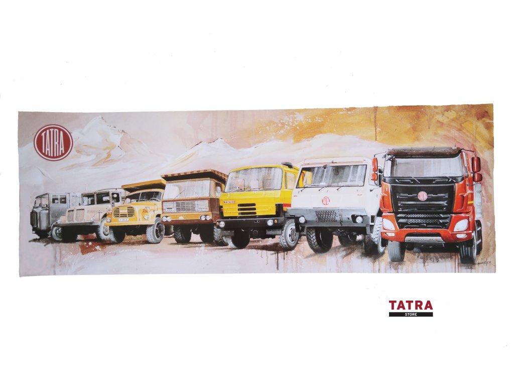 Plakát s motivem 100 let značky TATRA