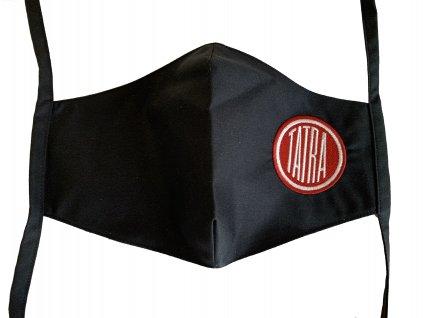 Rouška černá SLIM s výšivkou TATRA
